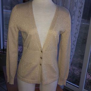 New York & Company gold glitter sparkle cardigan